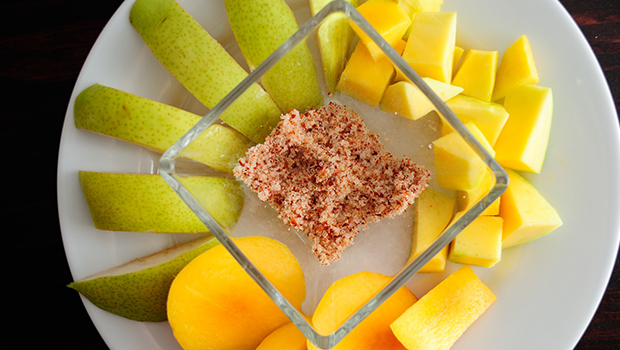 Tropical Fruit with Salt Chili Dip- A popular Asian dessert using only fresh tropical fruits.