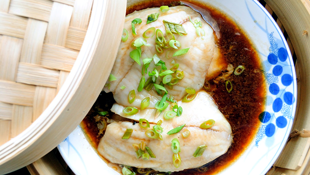 Steamed Soy Tilapia- an easy fish recipe that is high on flavor and low on calories.