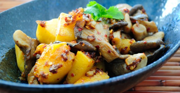 Butternut Squash and Mushroom Stir-fry - perfect all in 1 meal or as a vegetarian side dish to accompany a main entree.