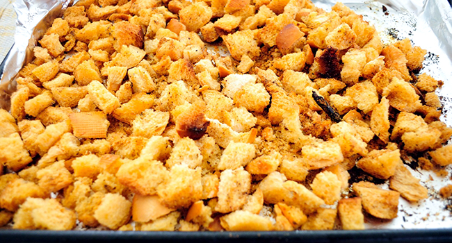 Final Croutons- golden brown after 15 minutes at 375 degrees.
