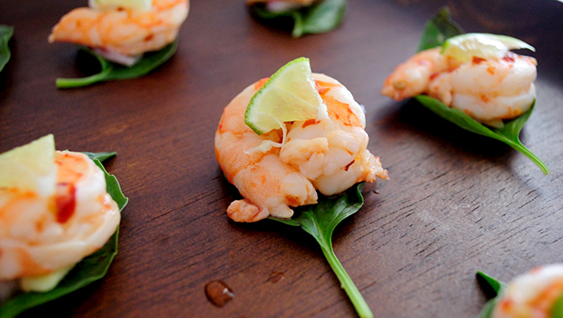 Basil Shrimp Bites- vibrant, fresh flavors in an easy recipe done in minutes.