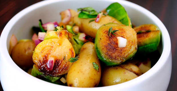 Warm Potato & Brussels Sprouts Salad- easy healthy side dishes.