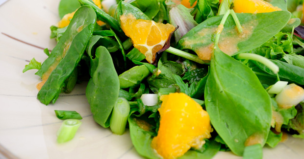 Easy Salad Recipes- Mixed Greens with Miso Dressing