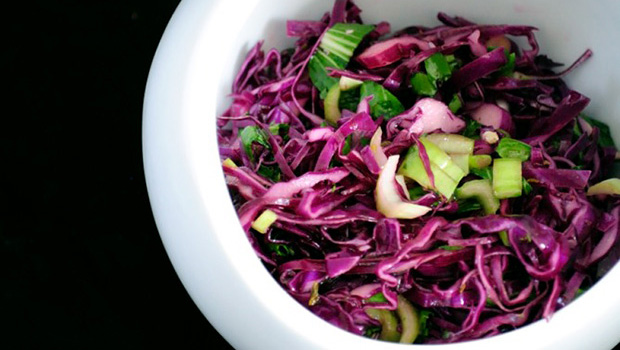 Red Cabbage and Bok Choy Slaw- easy, healthy slaws.