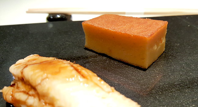 Best Sushi in New York- Sushi Nakazawa, the fluffy Tamago in the back, ever so lightly sweet and savory.