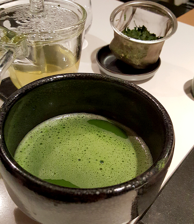 Best Sushi Restaurant in New York- Sushi Nakazawa. Hand whisked Green Tea.