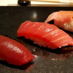 Of the best sushi restaurants in New York, Sushi Nakazawa solidifies its place in the Top 3 not just in NY but all of America. Trio of Tuna pictured here.