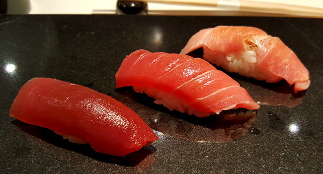 One of the best sushi restaurants in New York, Sushi Nakazawa, is as close to Sukiyabashi Jiro as you're going to get in America. Trio of Toro in this picture.