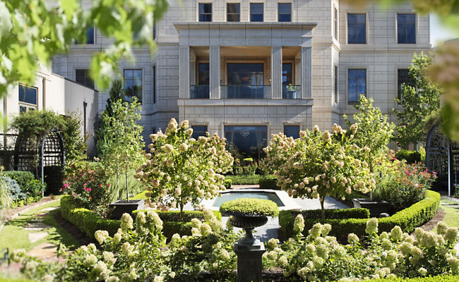 The English Garden at Mandarin Oriental Atlanta- a lovely afternoon stroll for fresh air or go out at night under the moonlight.