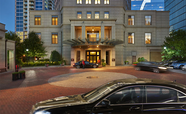 The best hotel in Atlanta- Mandarin Oriental Atlanta- the exterior and secluded front portico.