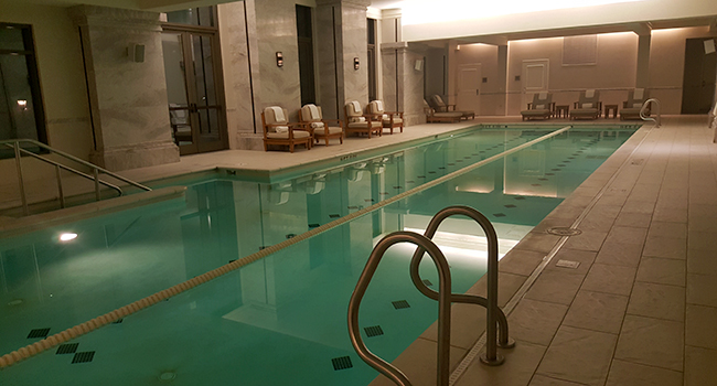 The indoor pool in the evening at Mandarin Oriental Atlanta. Some nights it's like a private enclave.