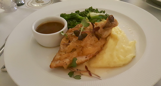 Mandarin Oriental Atlanta- the fantastic Roast Chicken with Creamy Grits and Jus.