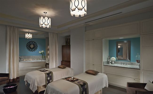 A couples' treatment room at The Spa at Mandarin Oriental Atlanta. Great not only for couples but also for best friends, siblings or Mother Daughter.